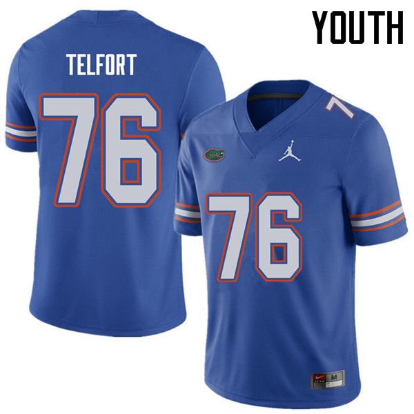 Jordan Brand Youth #76 Kadeem Telfort Florida Gators College Football Jerseys Sale-Royal